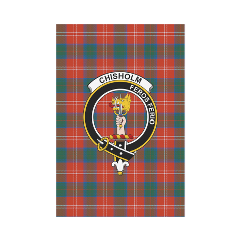 Garden Flag | Tartan Chisholm Ancient Flag | 2 Sizes Clan Badge
