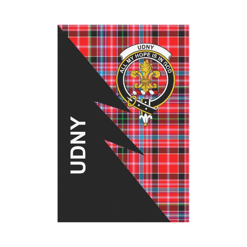 Garden Flag - Clan Undy Plaid & Crest Tartan Flag - 3 Sizes - Flash Style