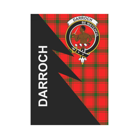 Garden Flag - Clan Darroch (Gourock) Plaid & Crest Tartan Flag - 3 Sizes - Flash Style