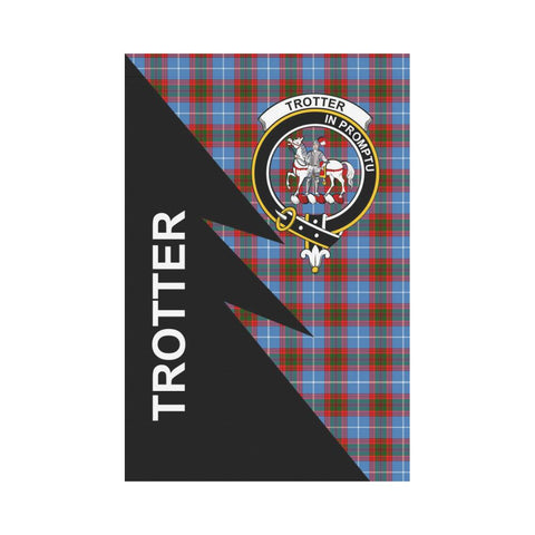 Garden Flag - Clan Trotter Plaid & Crest Tartan Flag - 3 Sizes - Flash Style