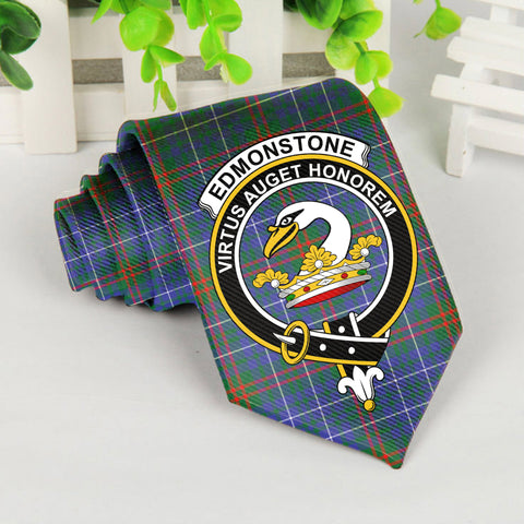 Edmonstone Tartan Tie with Clan Crest TH8