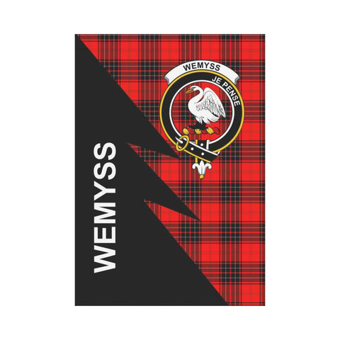 Garden Flag - Clan Wemyss Plaid & Crest Tartan Flag - 3 Sizes - Flash Style