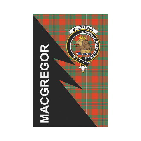 Garden Flag - Clan MacGregor Plaid & Crest Tartan Flag - 3 Sizes - Flash Style