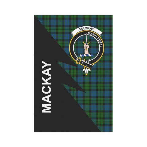 Garden Flag - Clan MacKay Plaid & Crest Tartan Flag - 3 Sizes - Flash Style