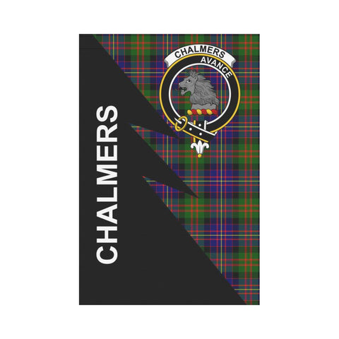 Garden Flag - Clan Chalmers Plaid & Crest Tartan Flag - 3 Sizes - Flash Style