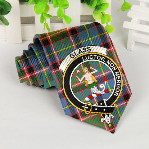 Glass Tartan Tie with Clan Crest TH8