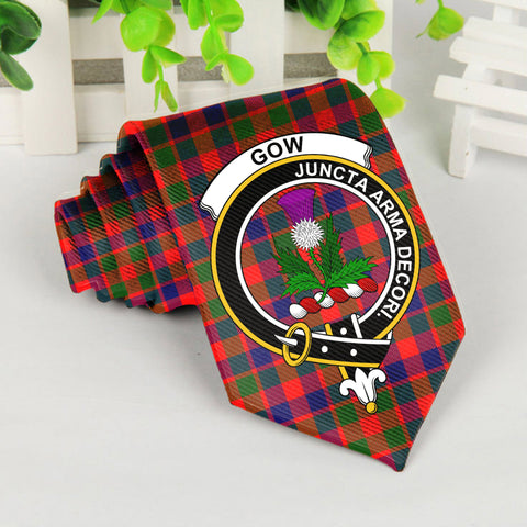Gow Of Skeoch Tartan Tie with Clan Crest TH8