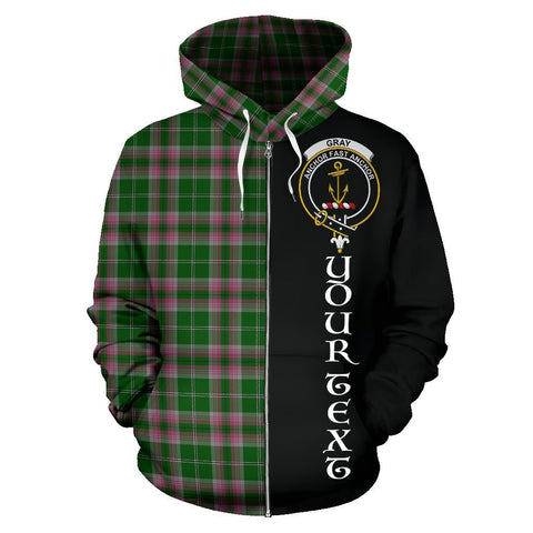 Custom Hoodie - Clan Gray Hunting Plaid Tartan Zip Up Hoodie Design Your Own - Half Of Me Style - Unisex Sizing