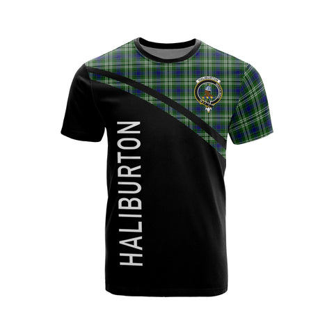 Tartan Shirt - Haliburton Clan Tartan Plaid T-Shirt Curve Version Front