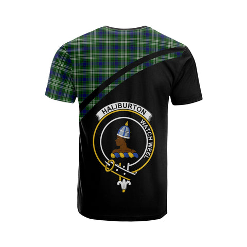 Tartan Shirt - Haliburton Clan Tartan Plaid T-Shirt Curve Version Back