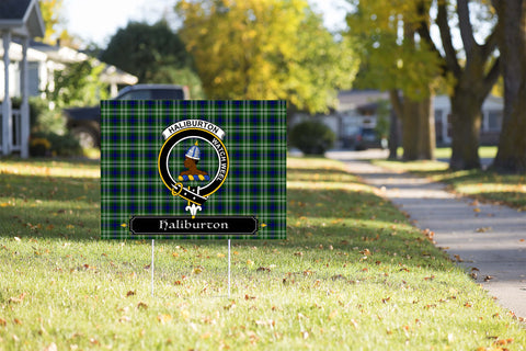 ScottishShop Haliburton Yard Sign - Tartan Crest Yard Sign