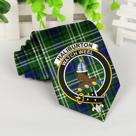 Image of ScottishShop Tartan Necktie - Haliburton Tartan Tie Clan Crest