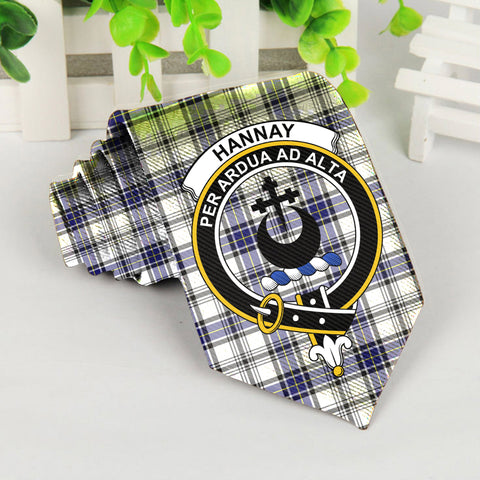 Image of Hannay Tartan Tie with Clan Crest TH8