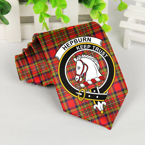 Hepburn Tartan Tie with Clan Crest TH8