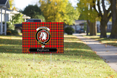ScottishShop Hepburn Yard Sign - Tartan Crest Yard Sign