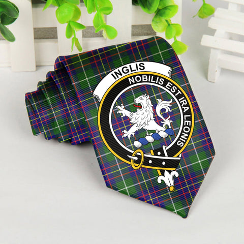 Image of Inglis Tartan Tie with Clan Crest TH8