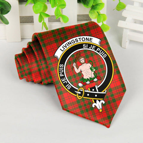 Livingstone Tartan Tie with Clan Crest TH8