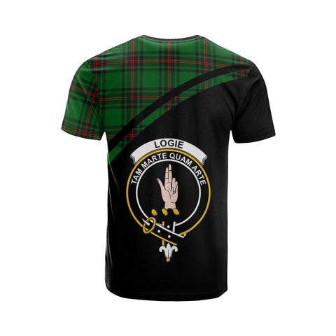 Tartan Shirt - Logie Clan Tartan Plaid T-Shirt Curve Version Back