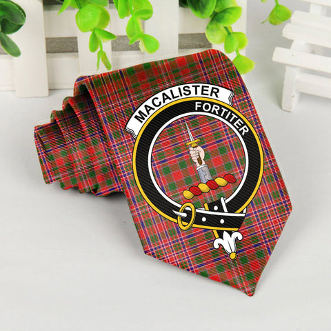 Macalister Tartan Tie with Clan Crest TH8