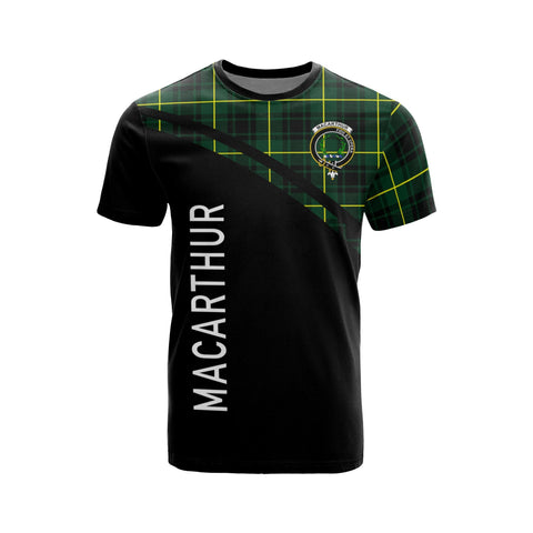 Tartan Shirt - MacArthur Clan Tartan Plaid T-Shirt Curve Version Front