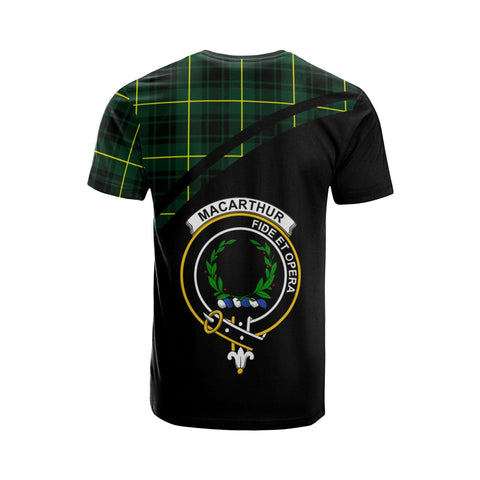 Tartan Shirt - MacArthur Clan Tartan Plaid T-Shirt Curve Version Back