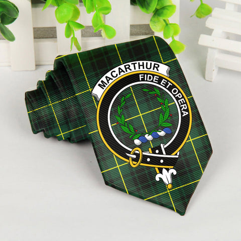 Image of Macarthur Tartan Tie with Clan Crest TH8