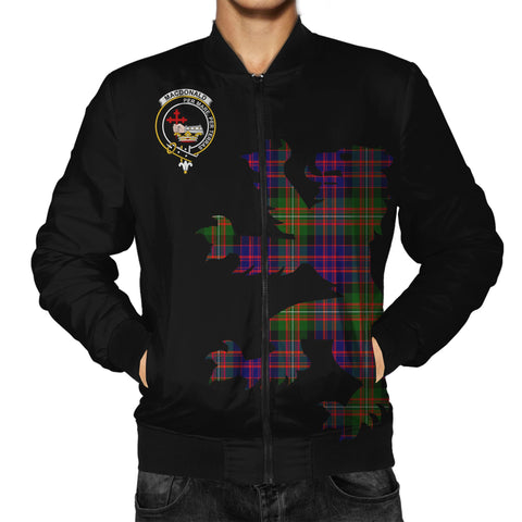 ScottishShop Tartan Bomber Jacket - MacDonald (Clan Donald) Tartan Lion & Thistle Men Jacket