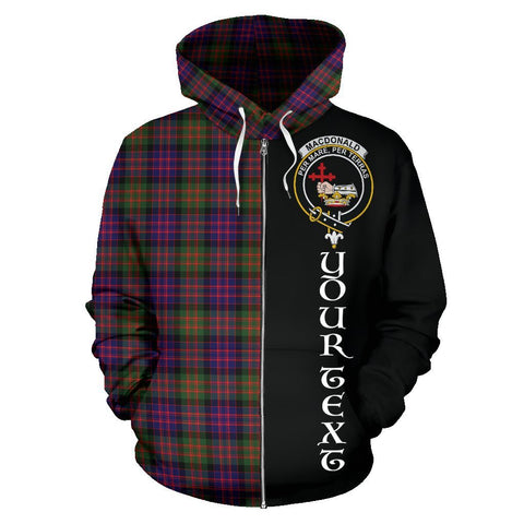 Custom Hoodie - Clan MacDonald Modern Plaid Tartan Zip Up Hoodie Design Your Own - Half Of Me Style - Unisex Sizing