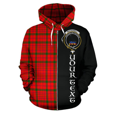 Custom Hoodie - Clan MacDonnell of Keppoch Modern Plaid Tartan Zip Up Hoodie Design Your Own - Half Of Me Style - Unisex Sizing