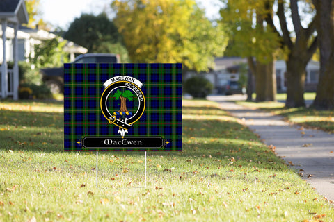 ScottishShop MacEwen Yard Sign - Tartan Crest Yard Sign