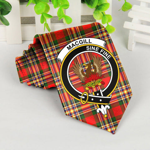 Macgill Tartan Tie with Clan Crest TH8