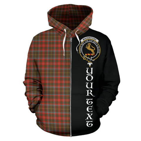 Image of Custom Hoodie - Clan MacKintosh Hunting Weathered Plaid Tartan Zip Up Hoodie Design Your Own - Half Of Me Style - Unisex Sizing