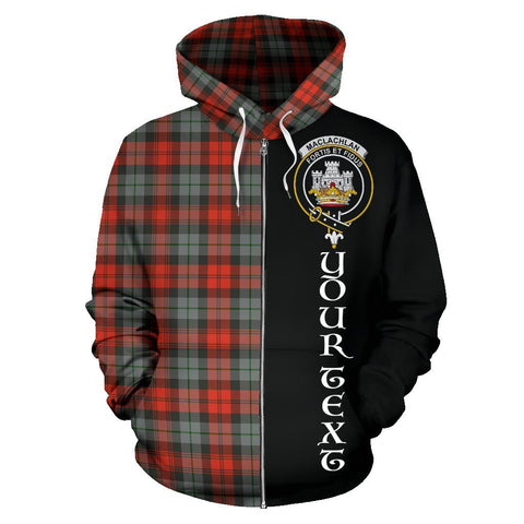 Custom Hoodie - Clan MacLachlan Weathered Plaid Tartan Zip Up Hoodie Design Your Own - Half Of Me Style - Unisex Sizing