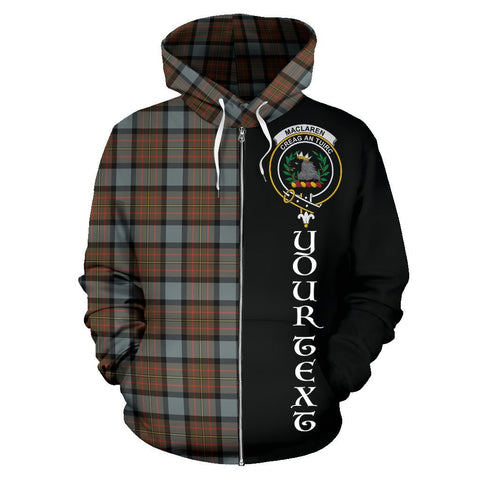 Image of Custom Hoodie - Clan MacLaren Weathered Plaid Tartan Zip Up Hoodie Design Your Own - Half Of Me Style - Unisex Sizing