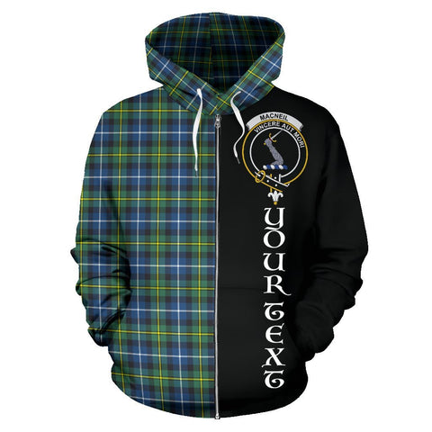 Custom Hoodie - Clan MacNeill of Barra Ancient Plaid Tartan Zip Up Hoodie Design Your Own - Half Of Me Style - Unisex Sizing