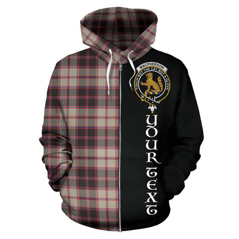 Custom Hoodie - Clan MacPherson Hunting Ancient Plaid Tartan Zip Up Hoodie Design Your Own - Half Of Me Style - Unisex Sizing