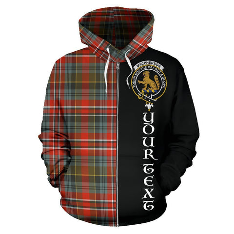 Custom Hoodie - Clan MacPherson Weathered Plaid Tartan Zip Up Hoodie Design Your Own - Half Of Me Style - Unisex Sizing