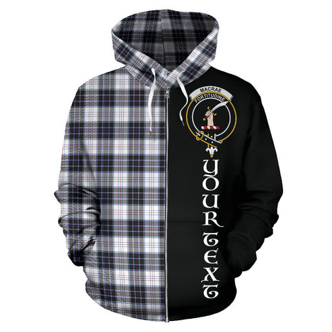 Custom Hoodie - Clan MacRae Dress Modern Plaid Tartan Zip Up Hoodie Design Your Own - Half Of Me Style - Unisex Sizing