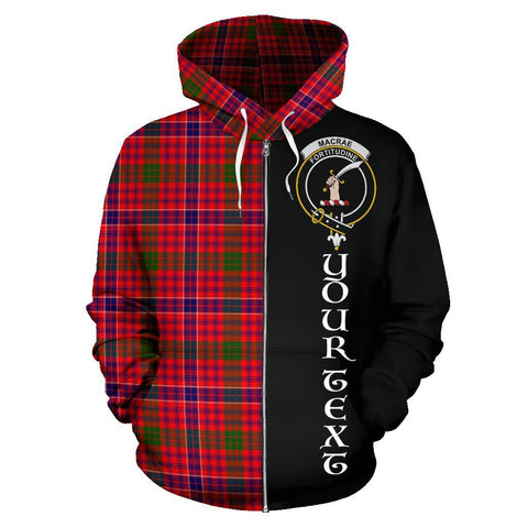 Custom Hoodie - Clan MacRae Modern Plaid Tartan Zip Up Hoodie Design Your Own - Half Of Me Style - Unisex Sizing