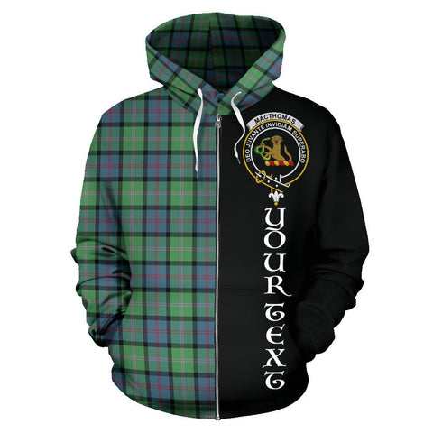 Custom Hoodie - Clan MacThomas Ancient Plaid Tartan Zip Up Hoodie Design Your Own - Half Of Me Style - Unisex Sizing
