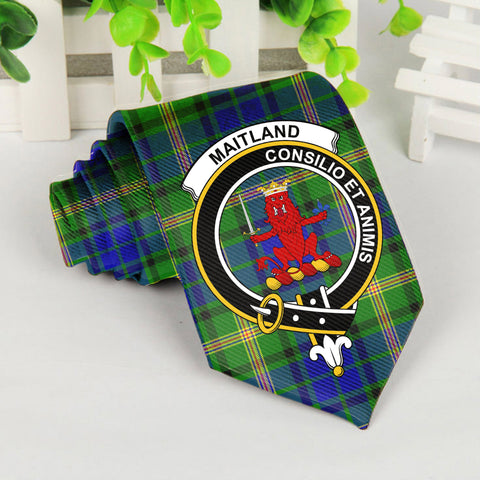 Maitland Tartan Tie with Clan Crest TH8