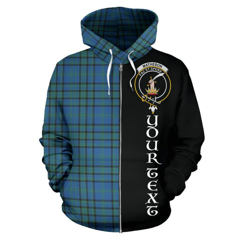 Custom Hoodie - Clan Matheson Hunting Ancient Plaid Tartan Zip Up Hoodie Design Your Own - Half Of Me Style - Unisex Sizing