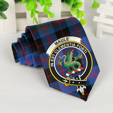 Maule Tartan Tie with Clan Crest TH8
