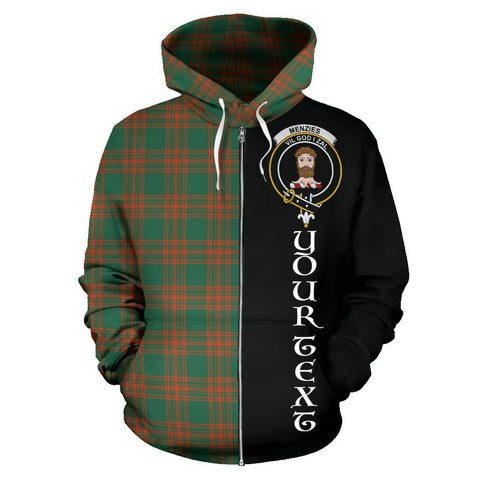 Custom Hoodie - Clan Menzies Green Ancient Plaid Tartan Zip Up Hoodie Design Your Own - Half Of Me Style - Unisex Sizing