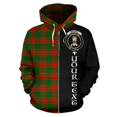 Custom Hoodie - Clan Menzies Green Modern Plaid Tartan Zip Up Hoodie Design Your Own - Half Of Me Style - Unisex Sizing