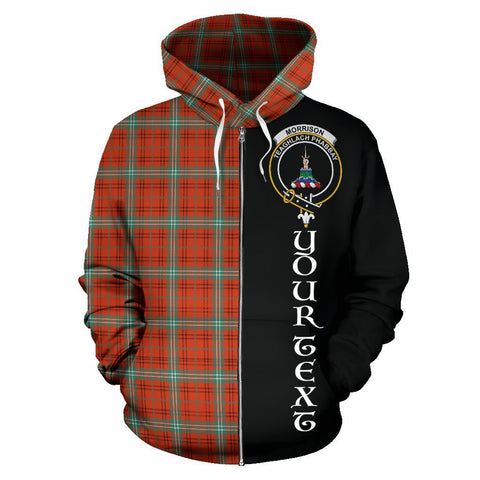 Custom Hoodie - Clan Morrison Red Ancient Plaid Tartan Zip Up Hoodie Design Your Own - Half Of Me Style - Unisex Sizing