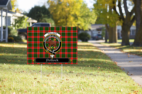 ScottishShop Pollock Yard Sign - Tartan Crest Yard Sign