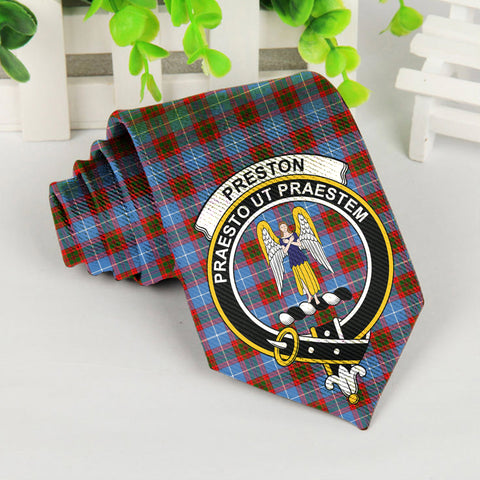 Image of ScottishShop Tartan Necktie - Preston Tartan Tie Clan Crest