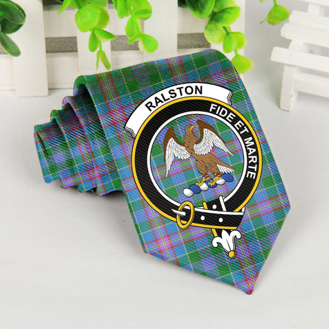 Ralston Tartan Tie with Clan Crest TH8