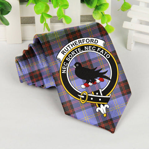 Rutherford Tartan Tie with Clan Crest TH8